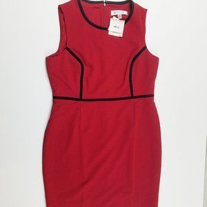 NWT Kasper Red Sheath Dress Black Piping 12P